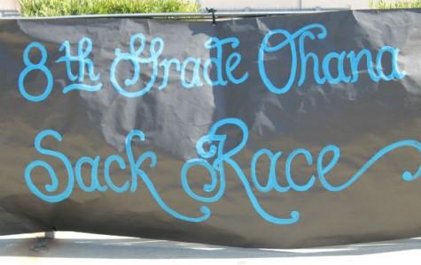 8th Grade Ohana sack race!
